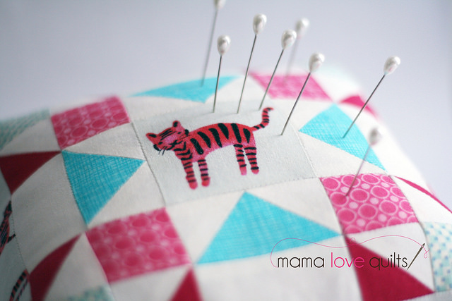 Cotton and Steel Tiger Pincushion_Pins