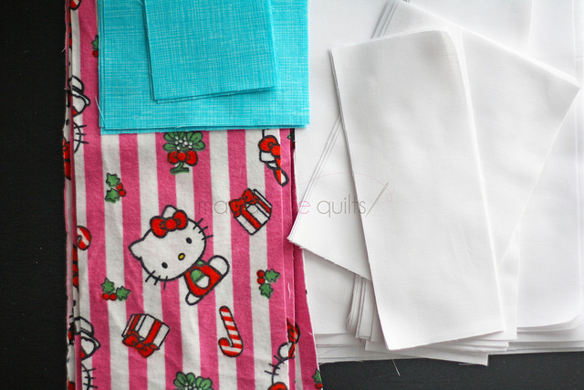 Hello Kitty_Modern Log Cabin Quilt Fabrics