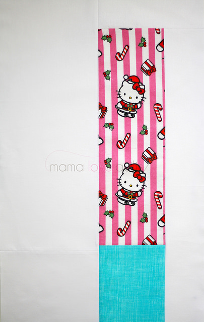 Hello Kitty_Modern Log Cabin Quilt Block